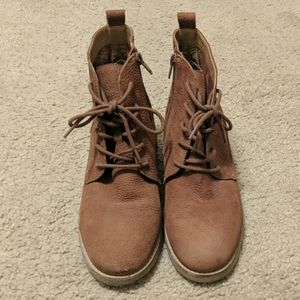 Brown leather lucky brand lace up booties